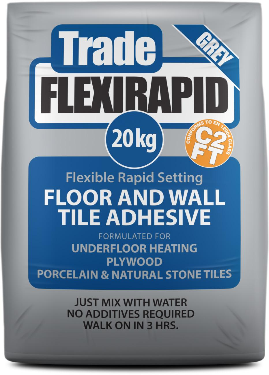 Tilemaster Trade Flexi Rapid Adhesive 20kg White Or Grey